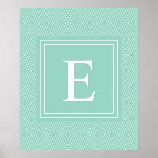 Vintage Diamonds White Teal Turquoise Poster