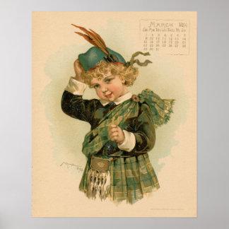Vintage dibujo de los niños hermosos de marzo de 1 póster