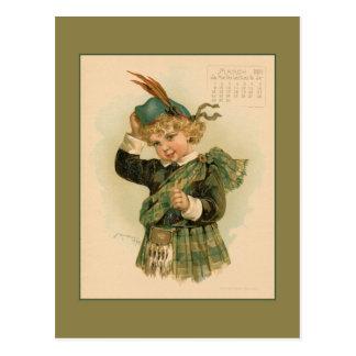 Vintage dibujo de los niños hermosos de marzo de 1 tarjeta postal