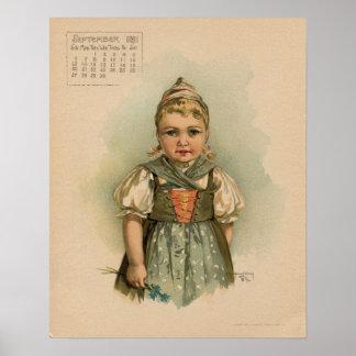 Vintage dibujo de los niños hermosos de septiembre póster