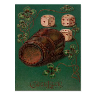 Vintage Dice Shamrocks St Patrick's Day Card