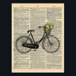 "Vintage Dictionary Art Bicycle with Flowers Postcard<br><div class=""desc"">Capture the charm of yesterday with Charmed Life&#39;s new vintage postcards featuring a sweet bicycle illustration with a basket full of flowers. Printed on a vintage dictionary page for popular style,  our vintage dictionary art postcards are perfect for your sweetest correspondence. Enjoy our vintage bicycle print postcard!</div>"