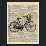 """Vintage Dictionary Art Bicycle with Flowers Postcard<br><div class=""""desc"""">Capture the charm of yesterday with Charmed Life&#39;s new vintage postcards featuring a sweet bicycle illustration with a basket full of flowers. Printed on a vintage dictionary page for popular style,  our vintage dictionary art postcards are perfect for your sweetest correspondence. Enjoy our vintage bicycle print postcard!</div>"""