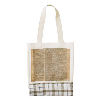 Vintage Dictionary Art Plaid Country Tote Bag