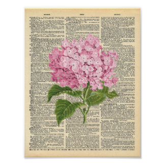 Vintage Dictionary Art Soft Pink Lilac Flower Poster