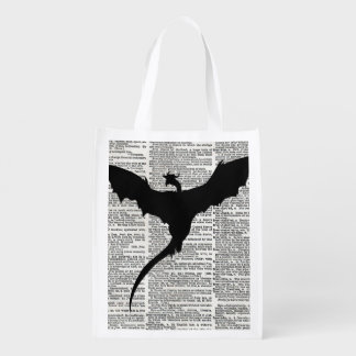 Vintage Dictionary Paper Dragon Medieval Grocery Bag