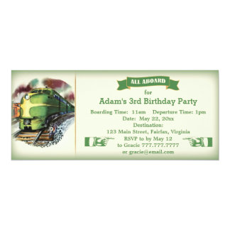 Vintage Diesel Train Birthday Party Invitation