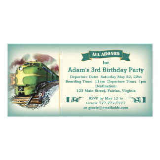 Vintage Diesel Train Birthday Party Invitation Customized Photo Card