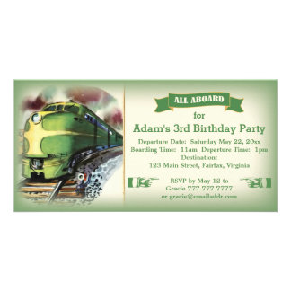 Vintage Diesel Train Birthday Party Invitation Picture Card