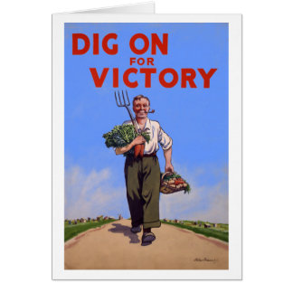 Vintage Dig On for Victory Note Card
