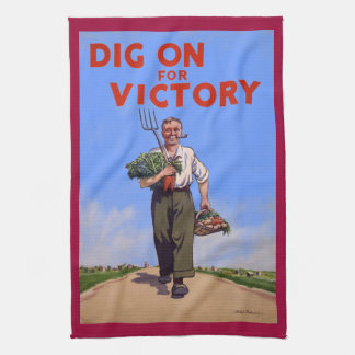 Vintage Dig on for Victory Poster Tea Towel