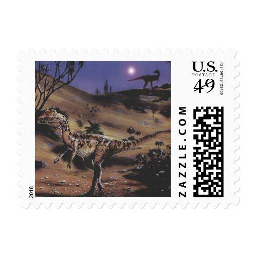 Vintage Dilophosaurus Dinosaurs on a Starry Night Postage Stamps
