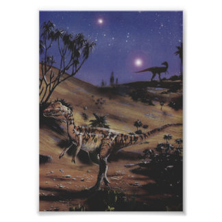 Vintage Dilophosaurus Dinosaurs on a Starry Night Posters