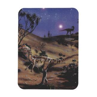 Vintage Dilophosaurus Dinosaurs on a Starry Night Rectangle Magnet