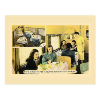 Vintage dining car on streamliner train postcard