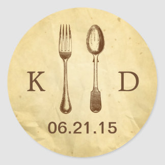 Vintage Dining Tools Old Paper Wedding Classic Round Sticker