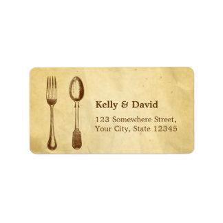 Vintage Dining Tools Old Paper Wedding Labels