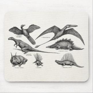 Vintage Dinosaur Illustration Retro Dinosaurs Mouse Pad