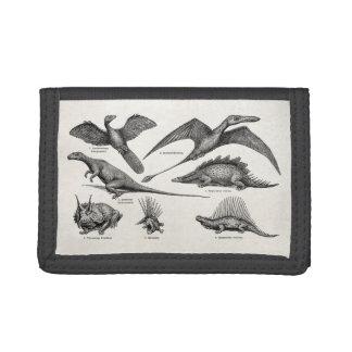 Vintage Dinosaur Illustration Retro Dinosaurs Tri-fold Wallet