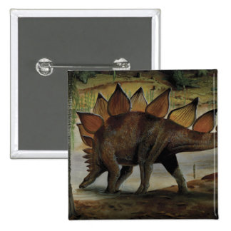 Vintage Dinosaur, Stegosaurus, Tail with Spikes 2 Inch Square Button