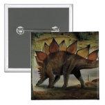 Vintage Dinosaur, Stegosaurus, Tail with Spikes Pinback Button