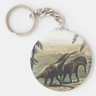 Vintage Dinosaurs, Amargasaurus with Palm Trees Keychain
