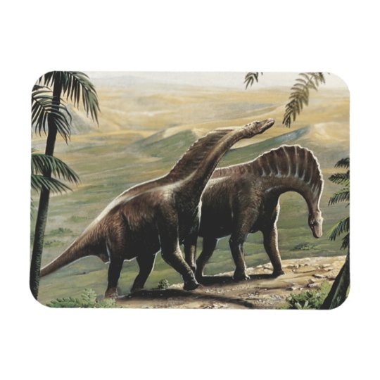 Vintage Dinosaurs, Amargasaurus with Palm Trees Magnet