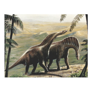 Vintage Dinosaurs, Amargasaurus with Palm Trees Postcard