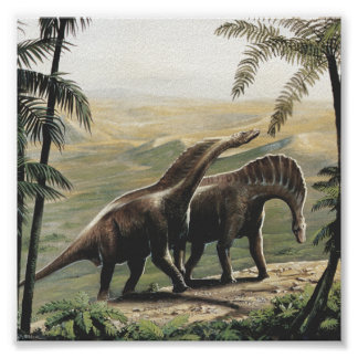 Vintage Dinosaurs, Amargasaurus with Palm Trees Poster