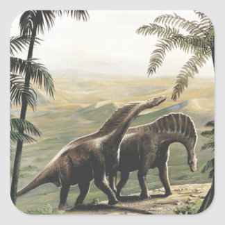 Vintage Dinosaurs, Amargasaurus with Palm Trees Square Sticker