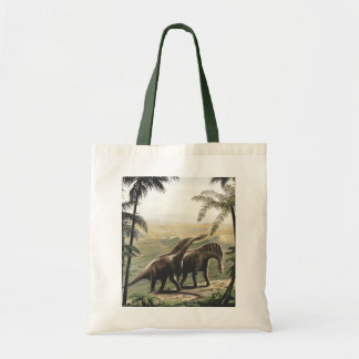 Vintage Dinosaurs, Amargasaurus with Palm Trees Tote Bag