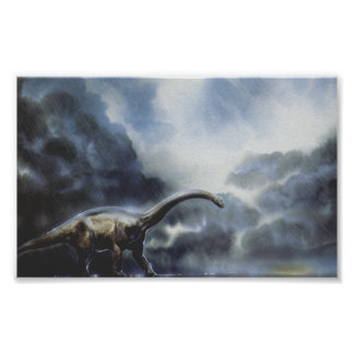 Vintage Dinosaurs, Barapasaurus with Storm Clouds Poster