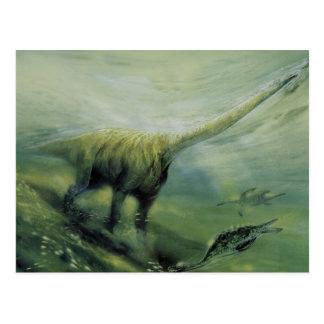 Vintage Dinosaurs, Brachiosaurus Swimming in Ocean Postcard