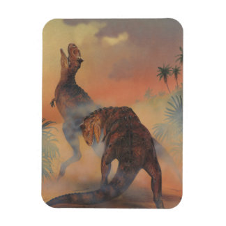 Vintage Dinosaurs, Carnotaurus Roaring in Jungle Magnet