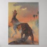 Vintage Dinosaurs, Carnotaurus Roaring in Jungle Poster