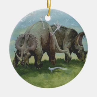 Vintage Dinosaurs, Centrosaurus Grazing in Meadow Ceramic Ornament