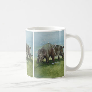 Vintage Dinosaurs, Centrosaurus Grazing in Meadow Coffee Mug