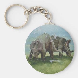 Vintage Dinosaurs, Centrosaurus Grazing in Meadow Keychain