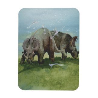 Vintage Dinosaurs, Centrosaurus Grazing in Meadow Magnet
