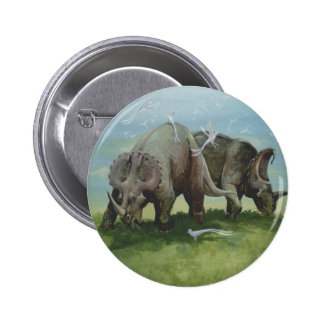 Vintage Dinosaurs, Centrosaurus Grazing in Meadow Pinback Button