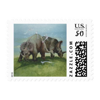 Vintage Dinosaurs, Centrosaurus Grazing in Meadow Postage