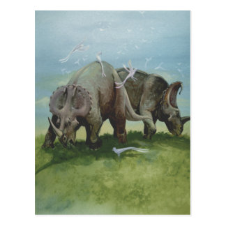 Vintage Dinosaurs, Centrosaurus Grazing in Meadow Postcard