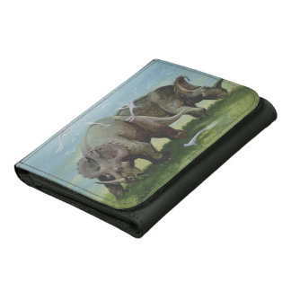 Vintage Dinosaurs, Centrosaurus Grazing in Meadow Trifold Wallet