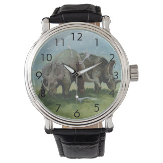 Vintage Dinosaurs, Centrosaurus Grazing in Meadow Wristwatches