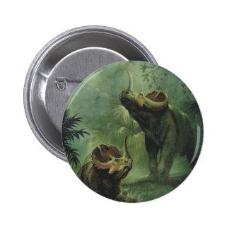 Vintage Dinosaurs, Centrosaurus in the Jungle Pinback Button