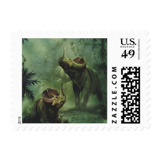 Vintage Dinosaurs, Centrosaurus in the Jungle Postage