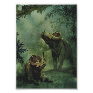 Vintage Dinosaurs, Centrosaurus in the Jungle Poster