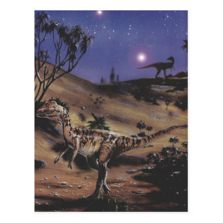 Vintage Dinosaurs, Dilophosaurus on a Starry Night Postcard