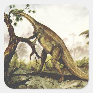 Vintage Dinosaurs, Plateosaurus Grazing on Trees Square Sticker