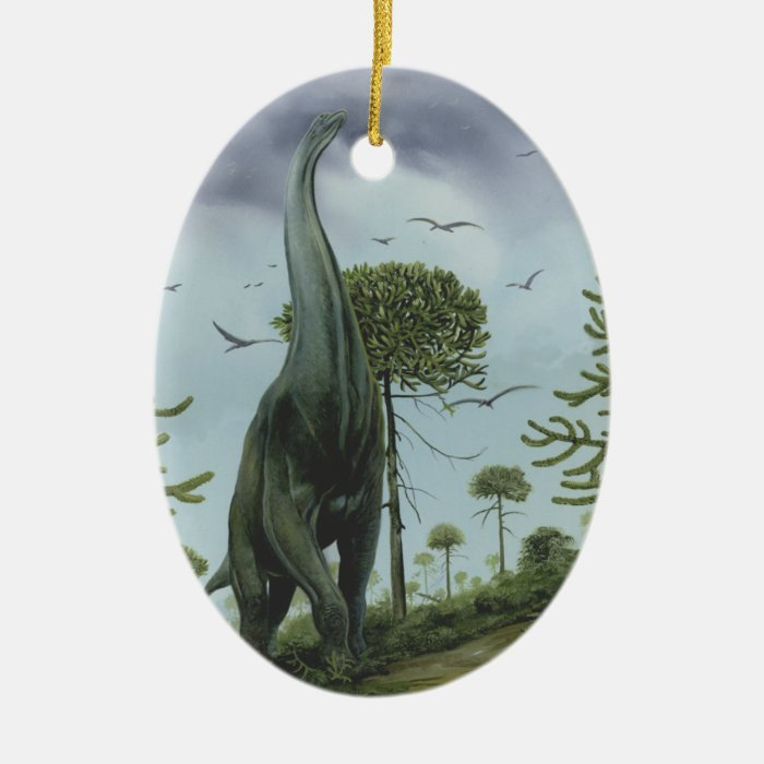 Vintage Dinosaurs, Sauroposeidon with Birds Flying Ceramic Ornament
